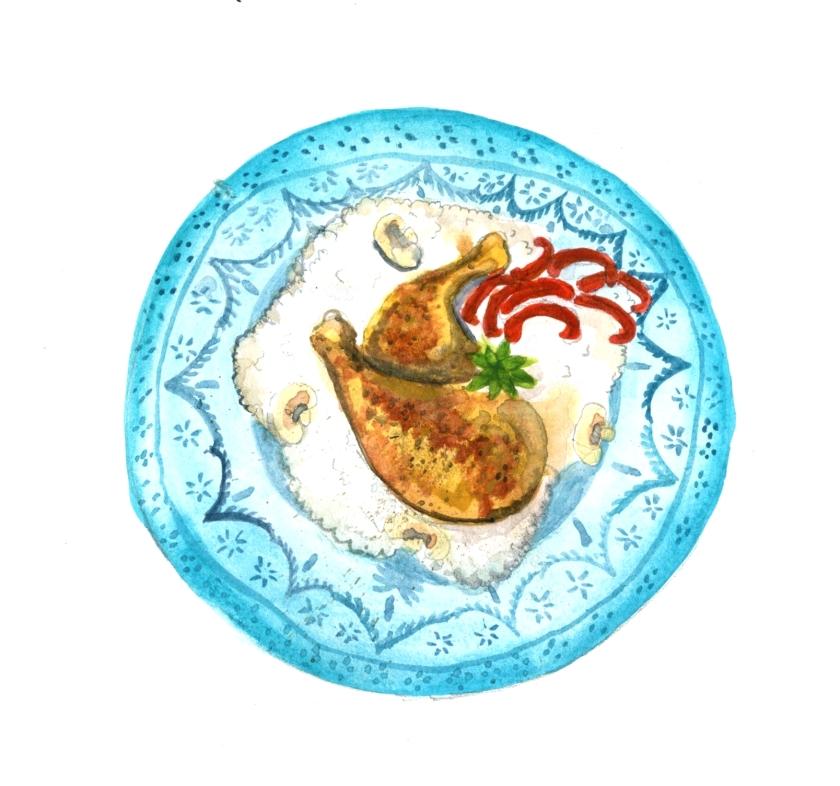 geschmorte Hähnchenkeulen auf Blumenkohlreis 2.2-2